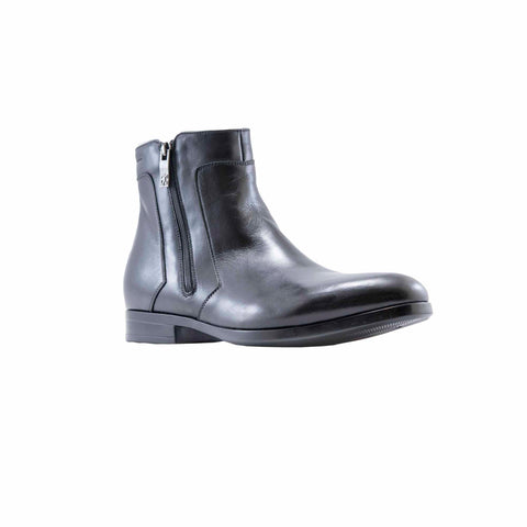 Verona Black Double Zipper Ankle Boots