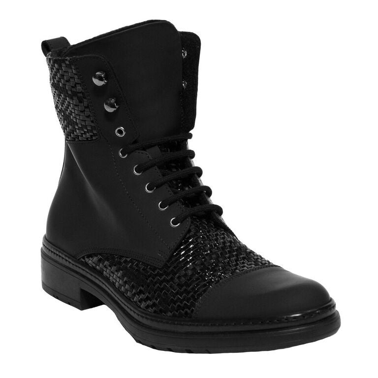Black Gomma and Leather Tall Ankle Boot