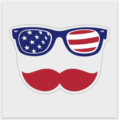 Patriotic Stache Decal