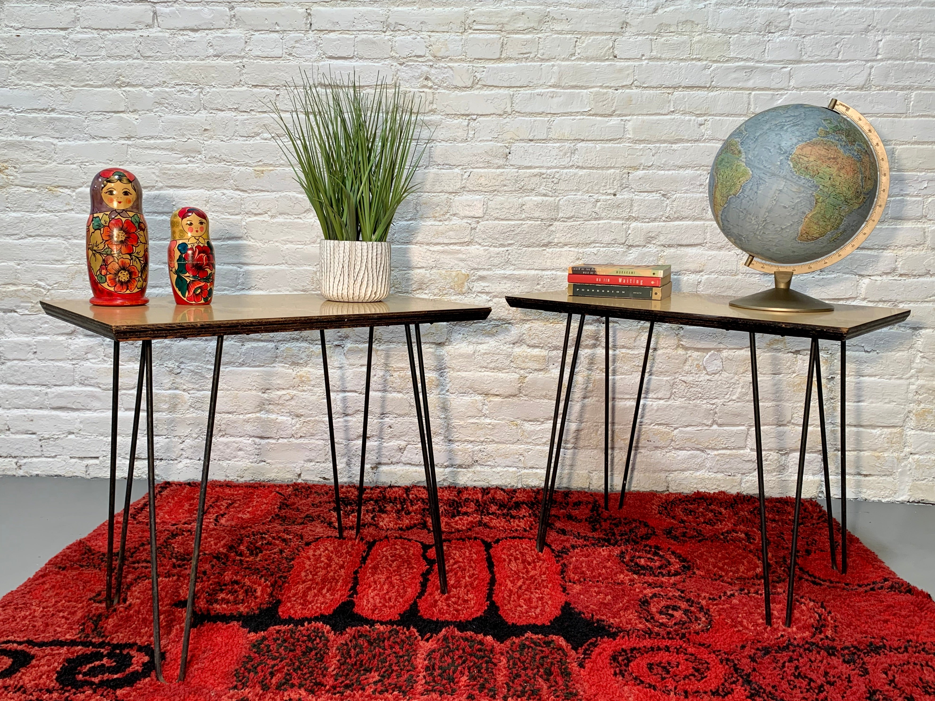 Mid Century Modern HAIRPIN Leg SIDE TABLES / nightstands / end tables