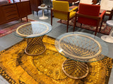 Mid Century Modern RATTAN + Glass END TABLES / Nightstands / Side Tables
