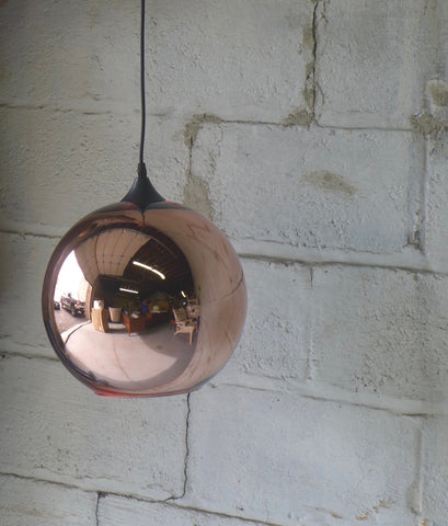 Mid Century MODERN styled Copper BALL pendant lamp