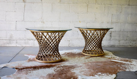 Mid Century Modern RATTAN + Glass END TABLES / Nightstands / Side Tables - Circa60