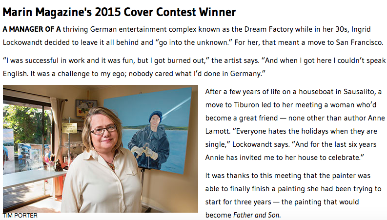 Pretty Girl client, artist Ingrid Lockowandt of Germany is the cover contest winner of the Marin Magazine May issue.