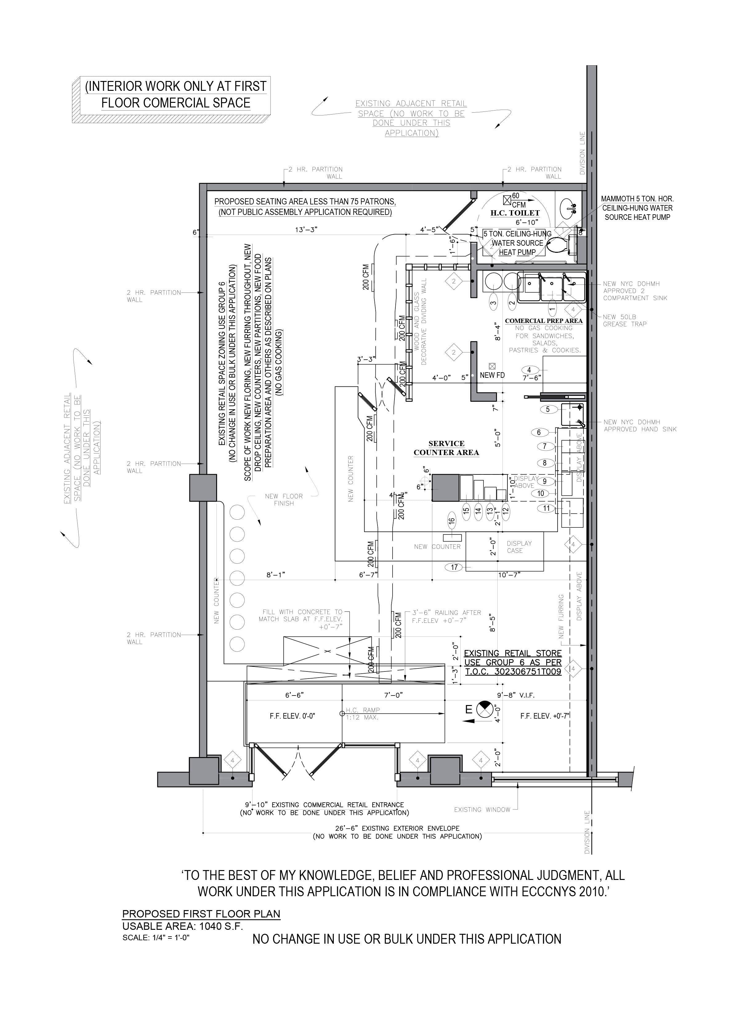AutoCAD drafting_Coffee Shop floor plan design_Brooklyn, NY