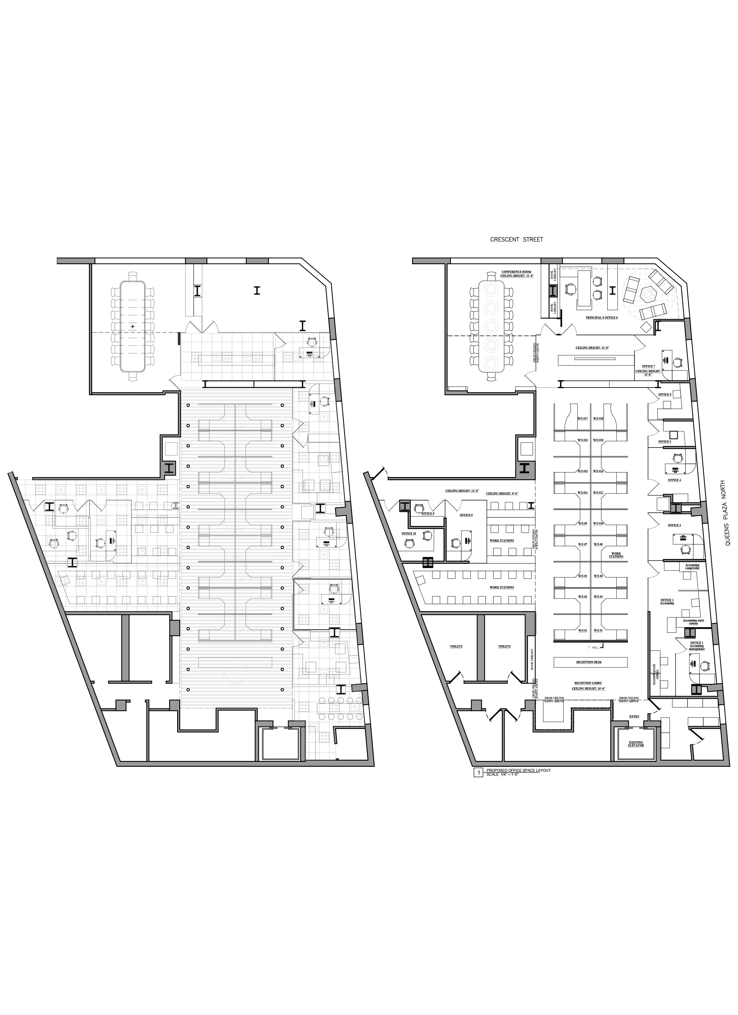 Floor Plan Design - Office Test Fit -As Built Drawings_Lawyers Office Queens, NY