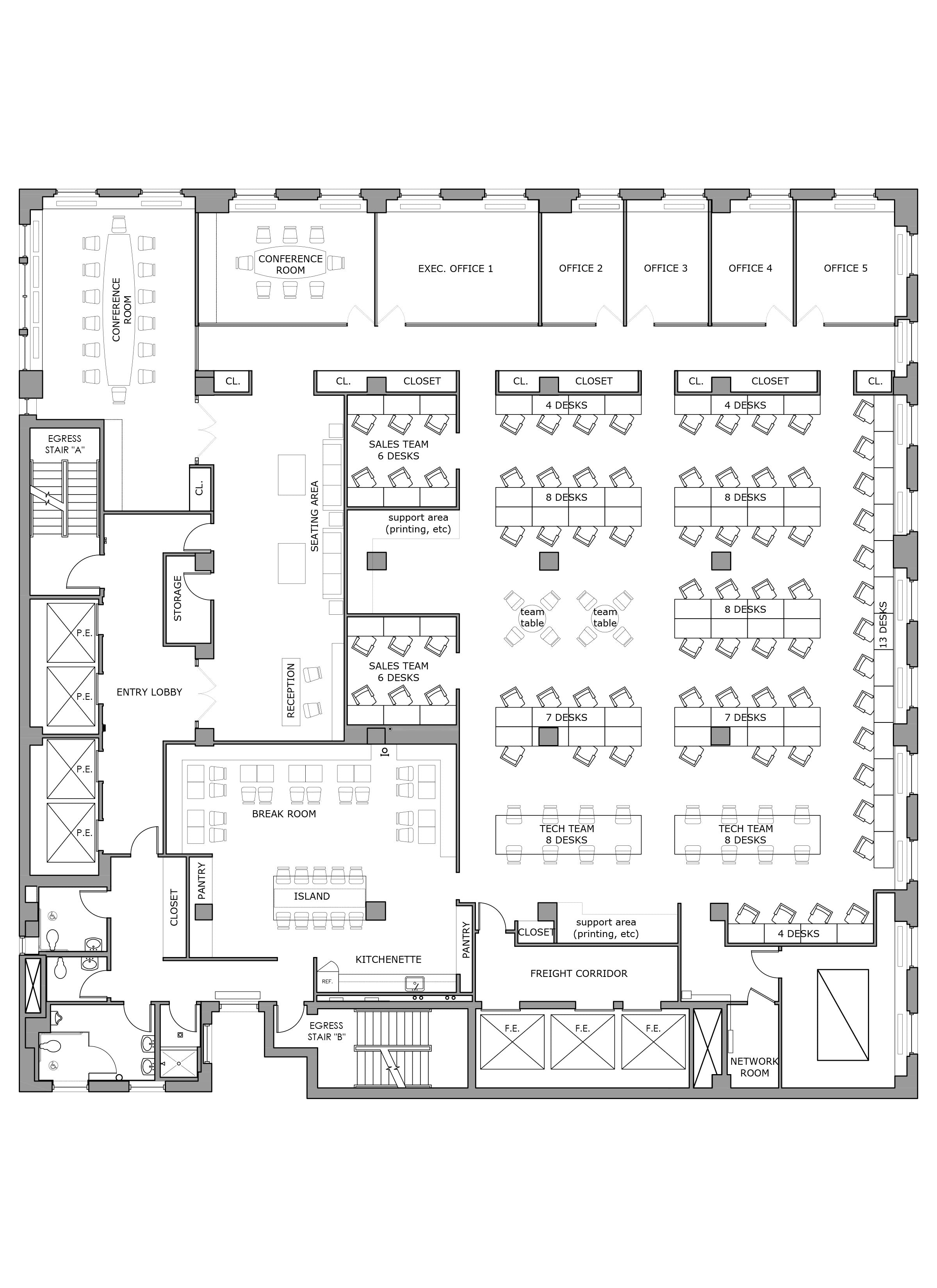 Floor plan design - Office test fit_NYC