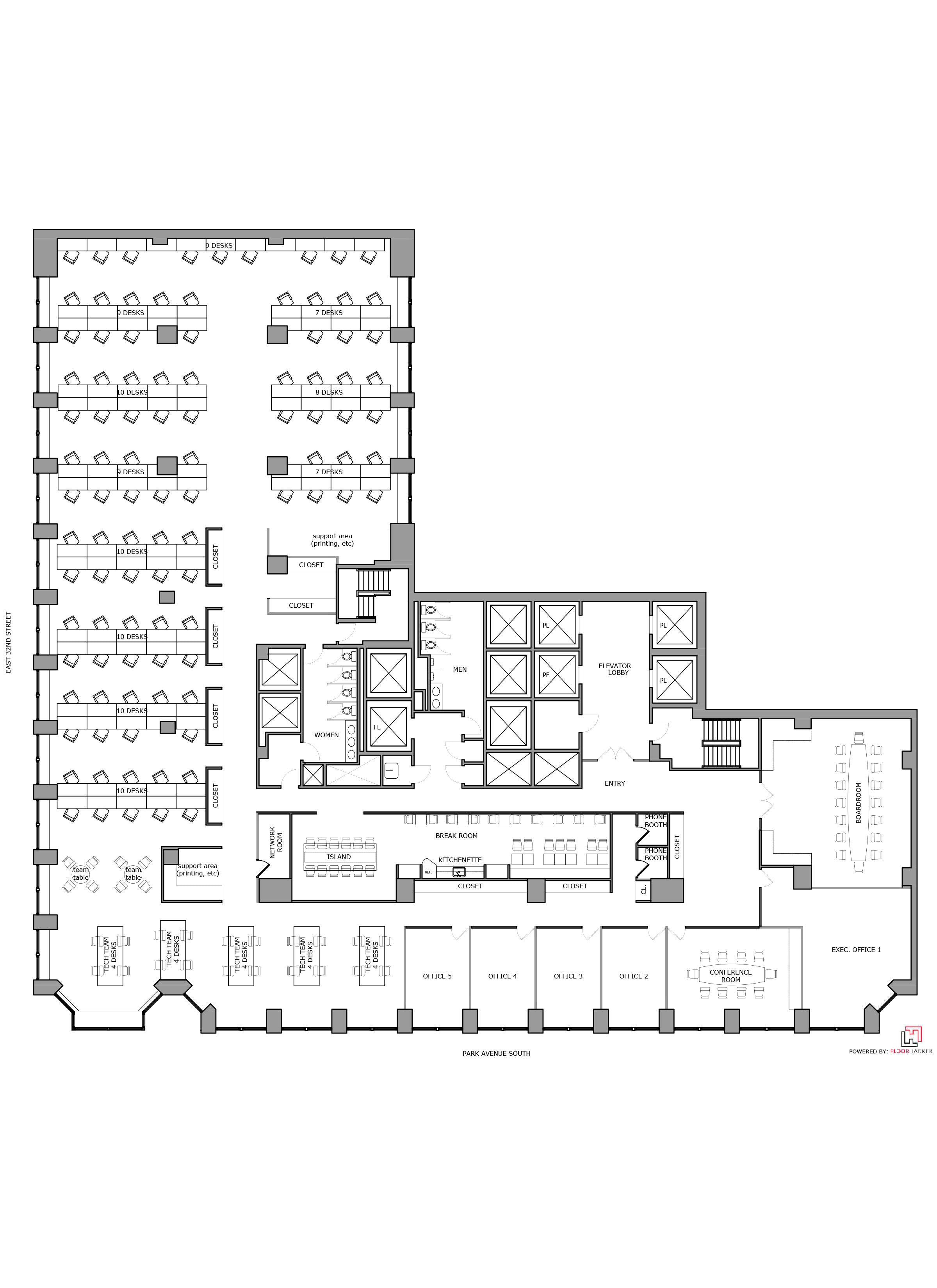 Floor Plan Design - Office Test Fit_Park Avenue South PAS, NYC