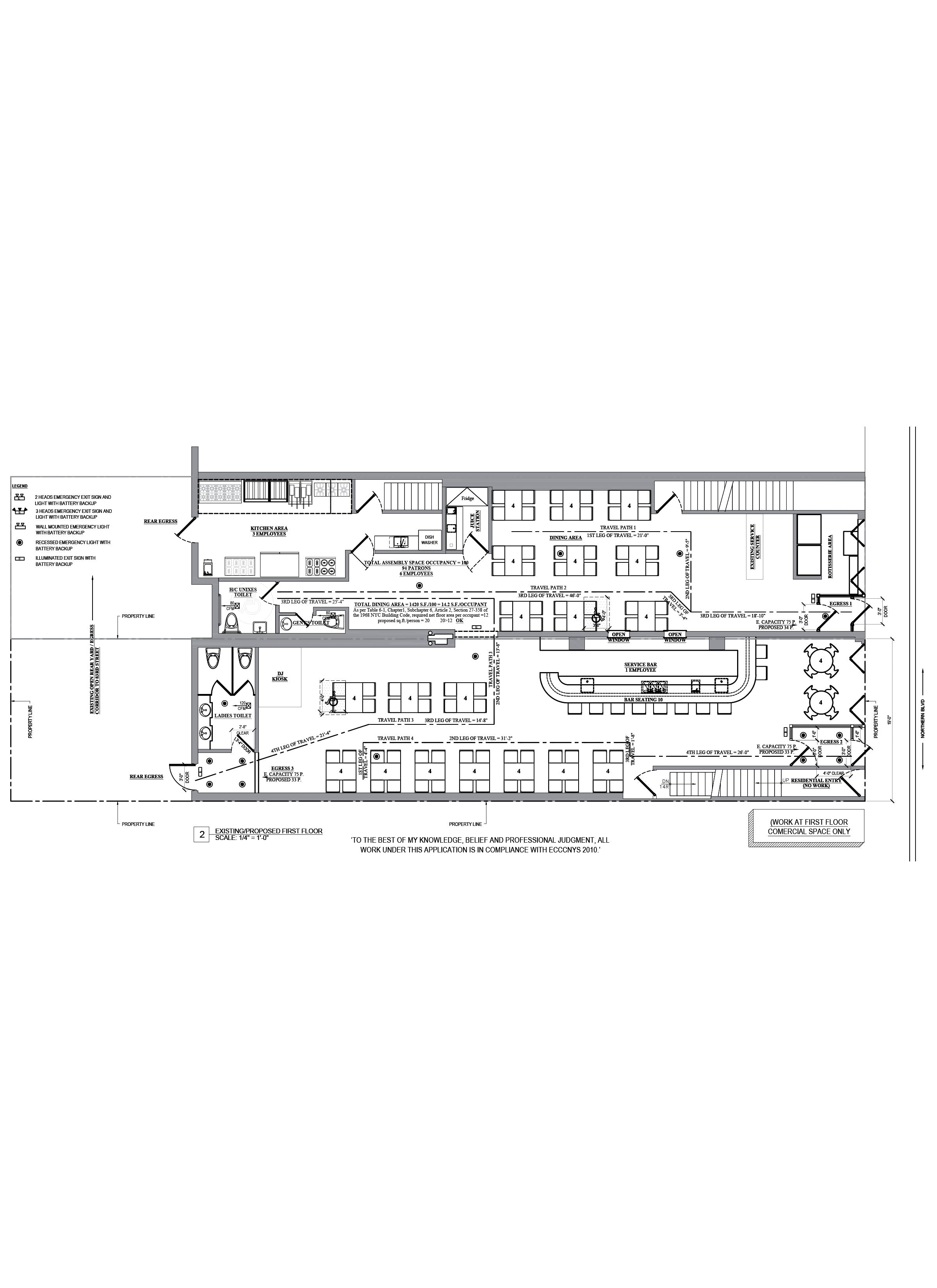 Floor plan design - AutoCAD drafting_Restaurant_La pollera colorada_Queens, NY