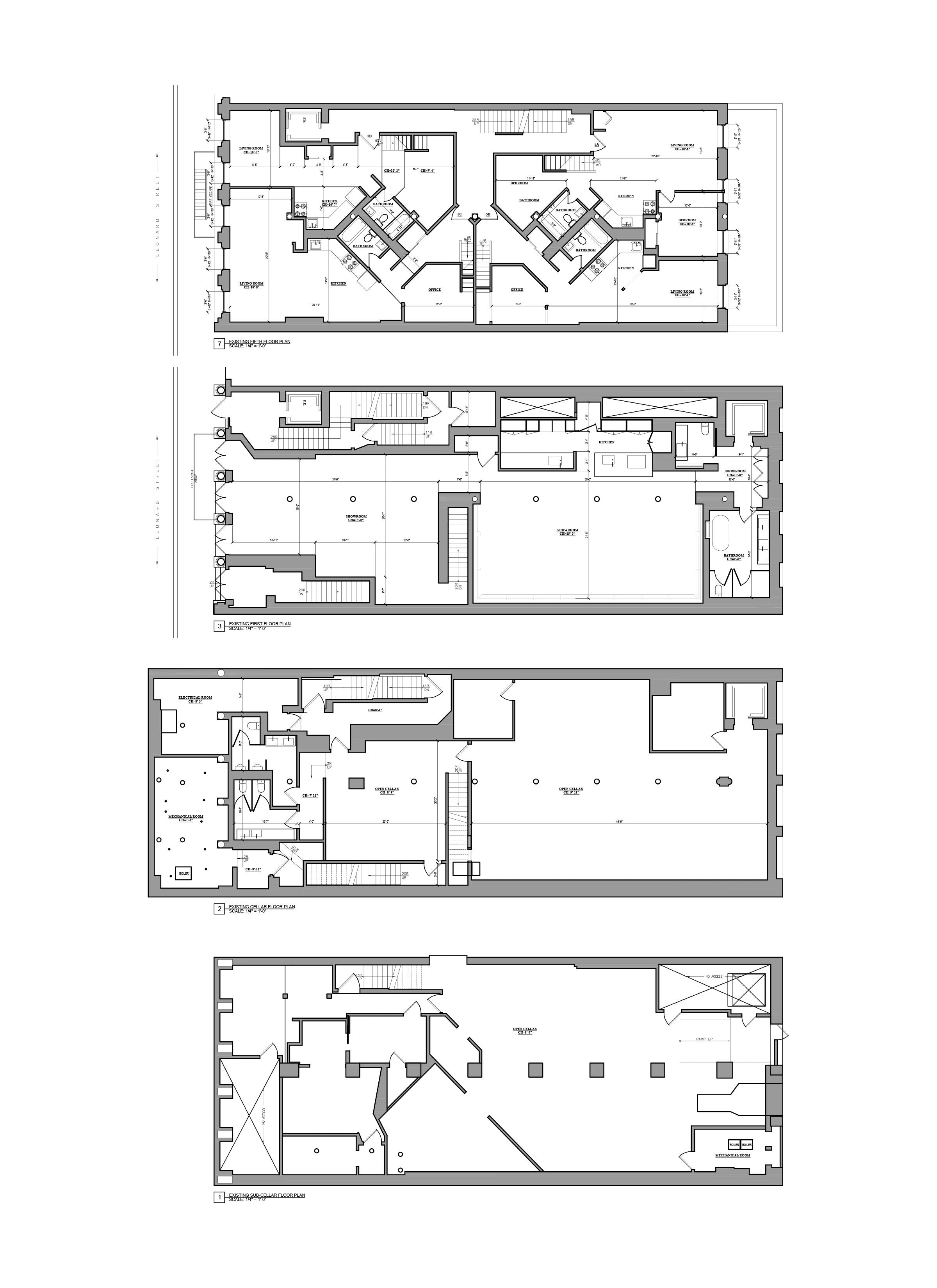 As Built Drawing - AutoCAD drafting_Mix-use building, NYC