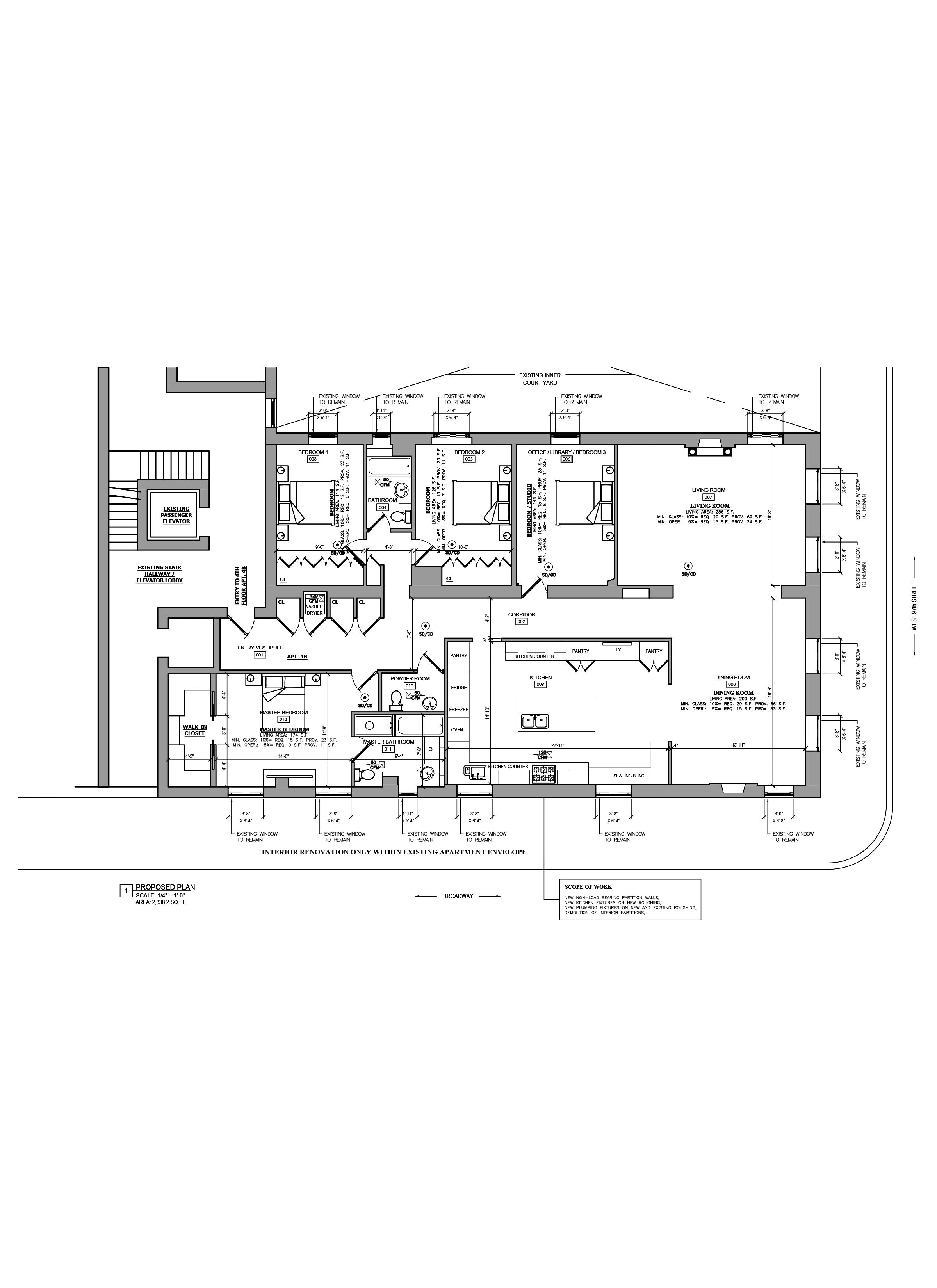 Floor plan design - As Built Drawings - AutoCAD drafting_Condominium Apartment_NYC