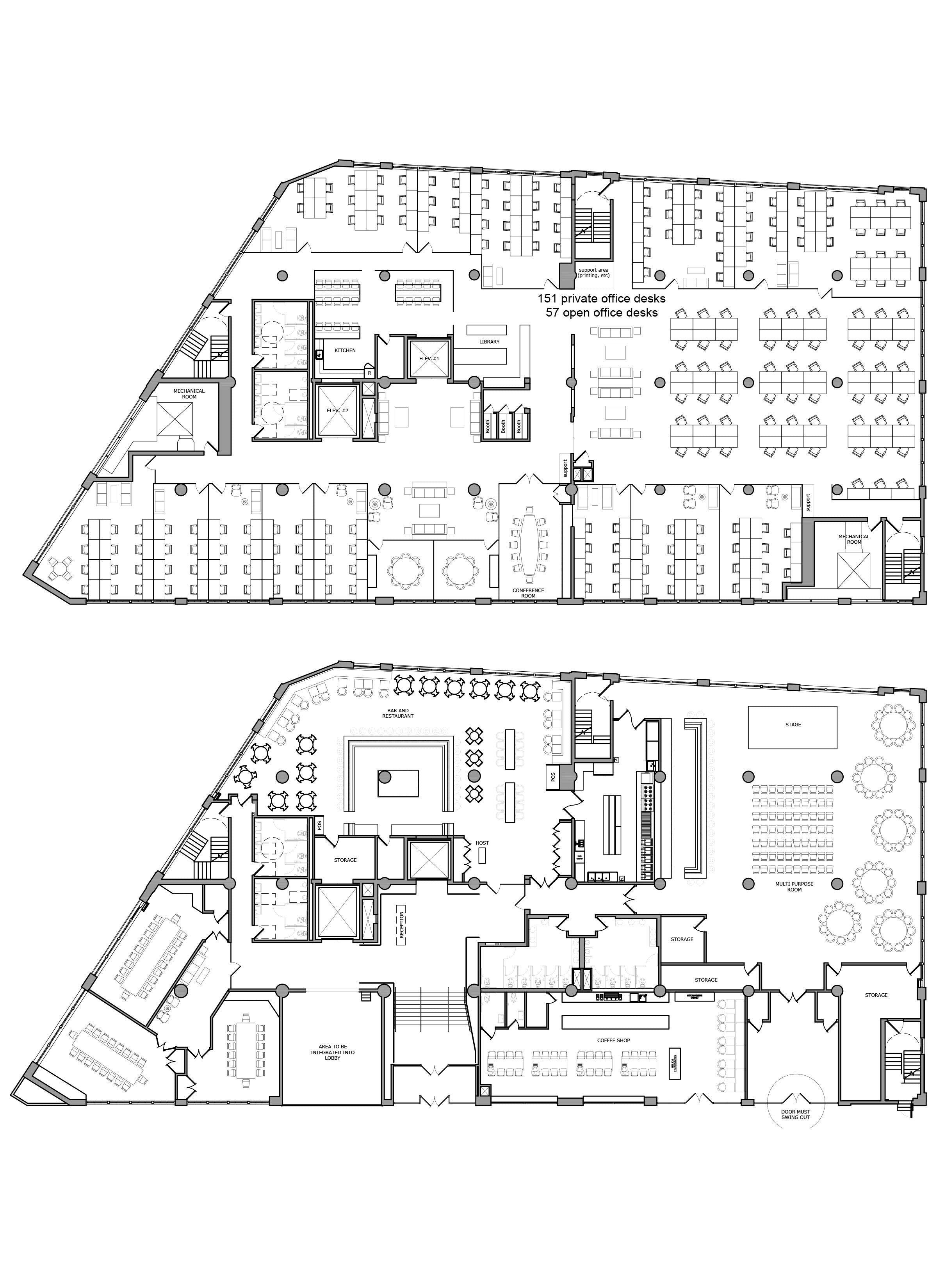 Floor Plan Design - Office test fit_Commercial Building Floor Plan _Brooklyn