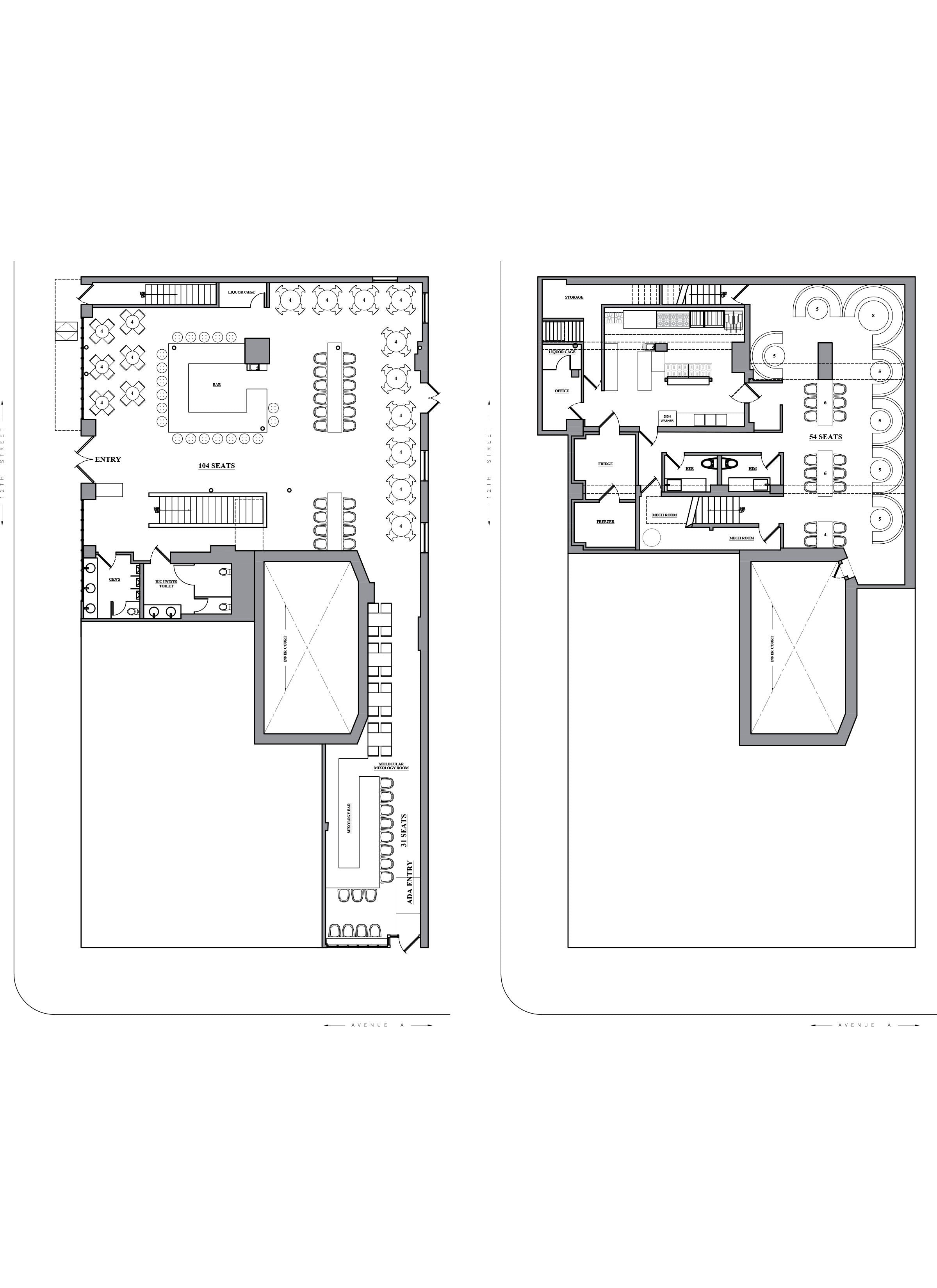 Floor plan design - AutoCAD drafting_Restaurant & Bar_Alphabet city_NYC