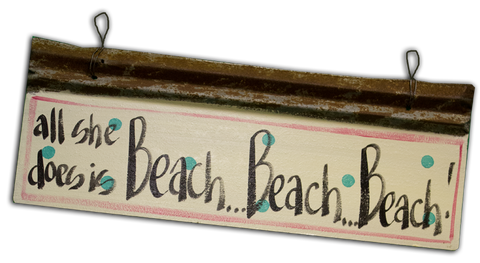 Handmade from recycled materials, this sign is truly homegrown.