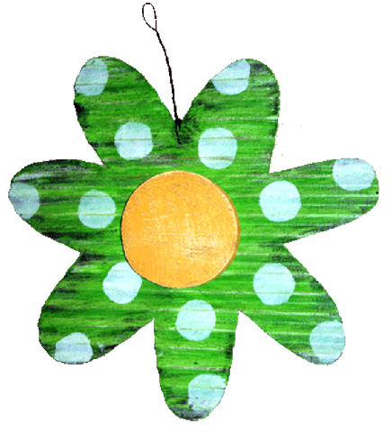 FLOWER - LARGE LIME WITH WHITE DOTS
