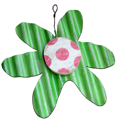 FLOWER - MED LIME WITH PINK DOTS
