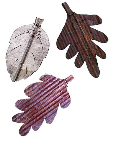 LEAVES - set of 3 NATURAL METAL