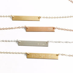Dainty Bar Necklace - Silver, Rose or Gold