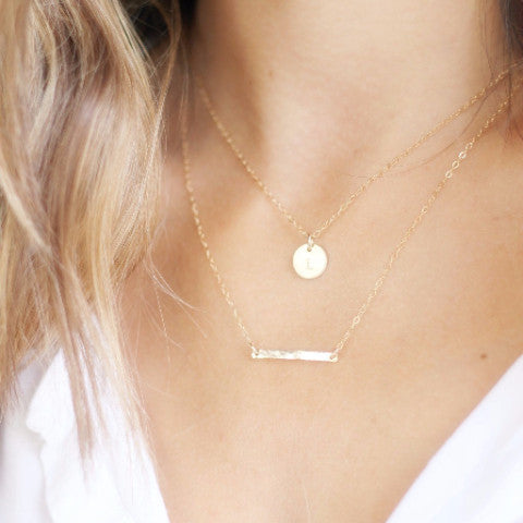 Layered Necklace Set - Initial & Hammered Bar - Gold, Silver or Rose