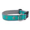 Aqua Starfish Ribbon Dog Collar