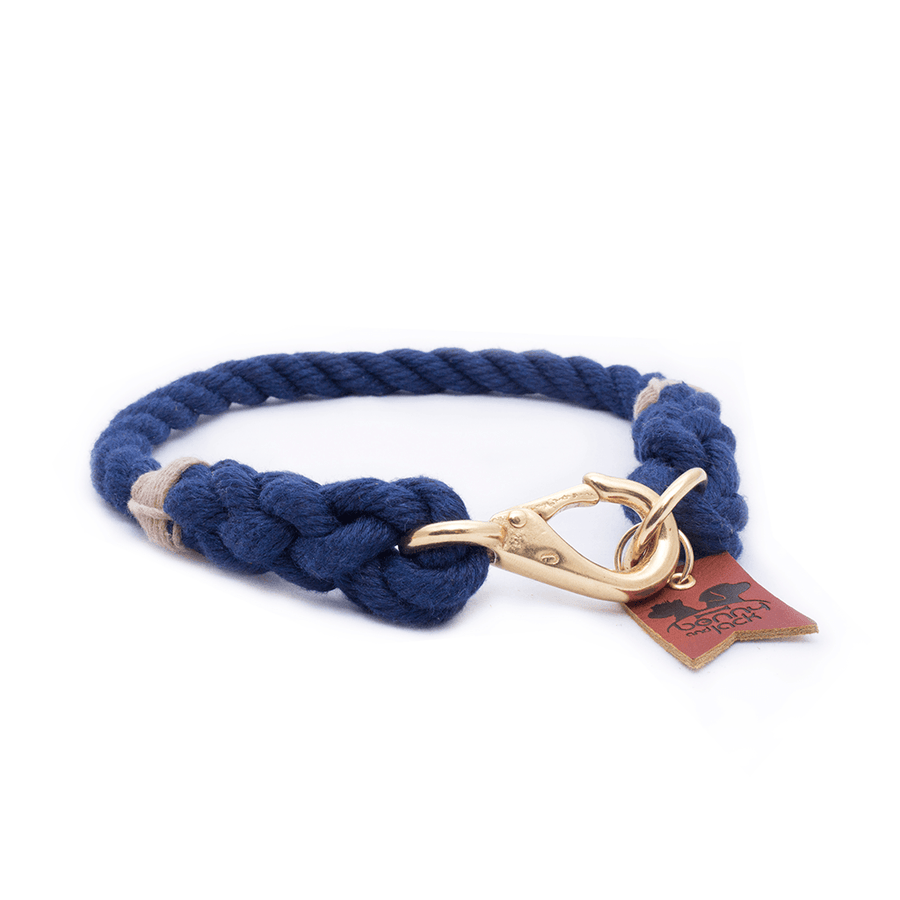 Navy Three Strand Rope Dog Collar