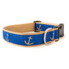 Blue Anchor Ribbon Dog Collar