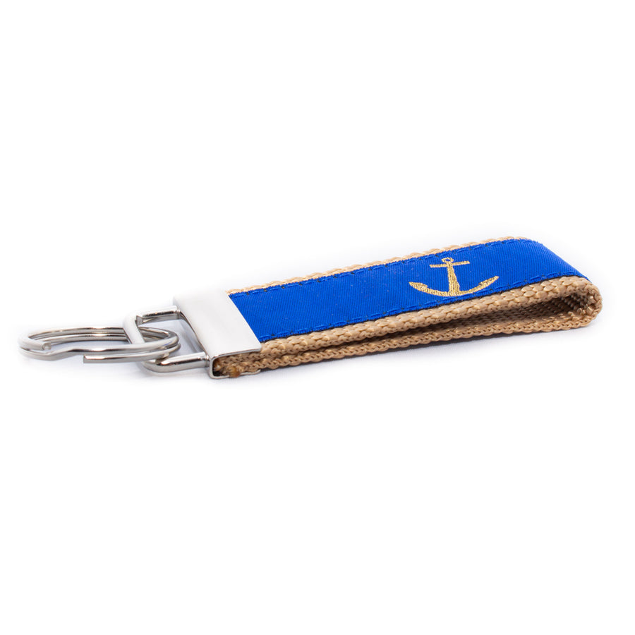 Blue Anchor Ribbon Key Fob