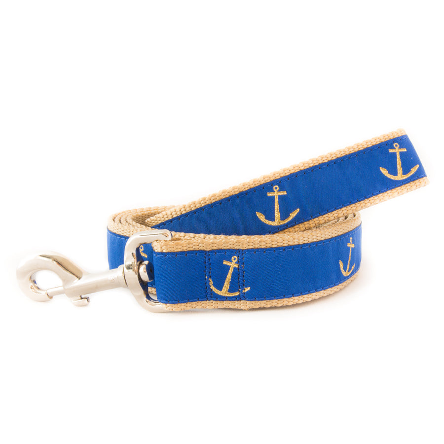 Blue Anchor Ribbon Dog Leash