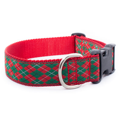 Christmas Argyle Ribbon Dog Collar