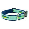 Mint Mahi Mahi Ribbon Dog Collar