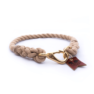 Natural Tan Harbor Three Strand Rope Dog Collar
