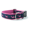 Pink Whale on Navy Ribbon Dog Collar