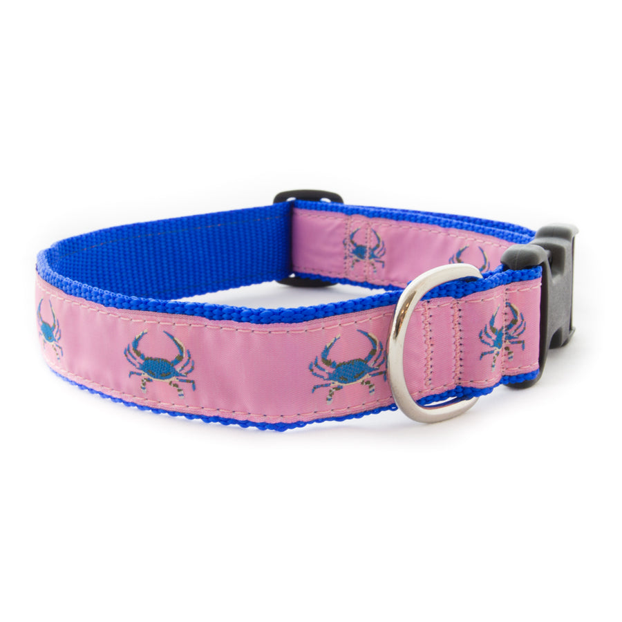 Pink Crab Ribbon Dog Collar