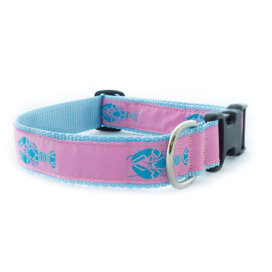 Pink Lobster Ribbon Dog Collar