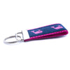 Pink Whale on Navy Ribbon Key Fob