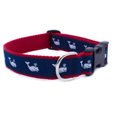 White Whale on Navy Ribbon Dog Collar