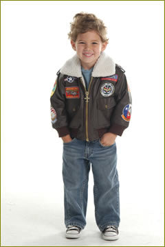 Kids Brown A-2 Bomber Jacket