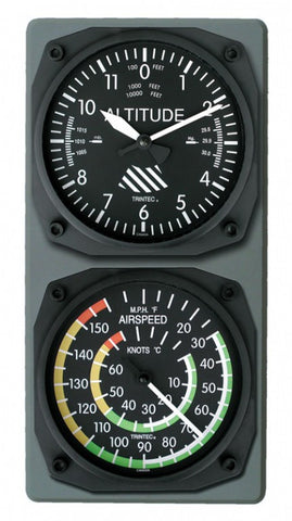 Altimeter Wall Clock / Airspeed Thermometer Combo