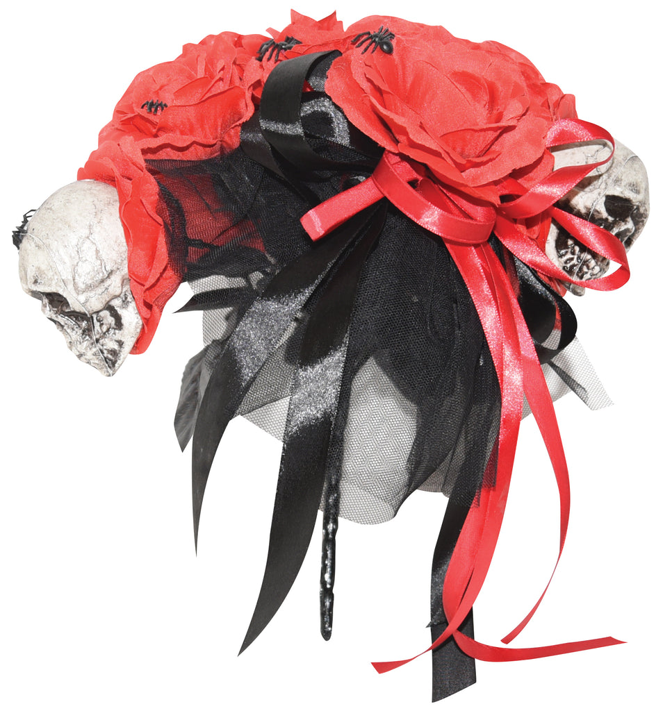 Bouquet of Red Roses with Skulls and Spiders Halloween Prop