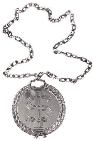 Big Bling Medallion on Chain Costume Accessory