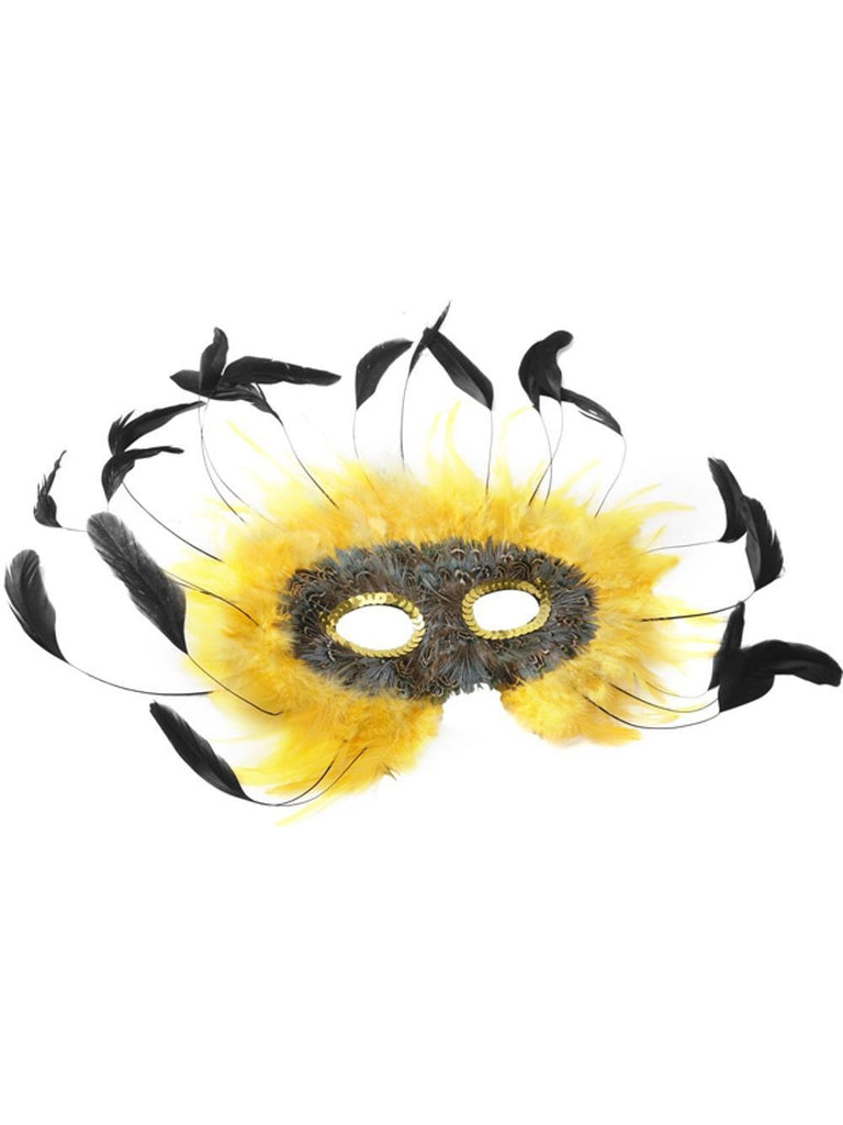 Adult Yellow & Black Feather Eye Mask-COSTUMEISH