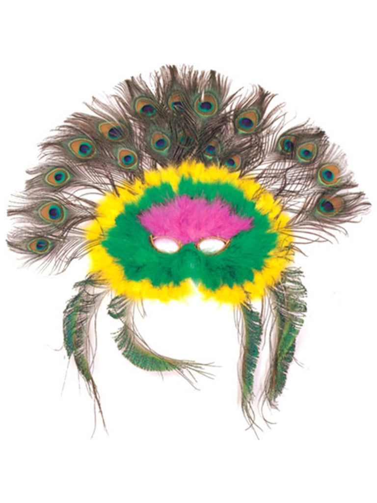 Adult Colorful Feather Peacock Eye Mask-COSTUMEISH