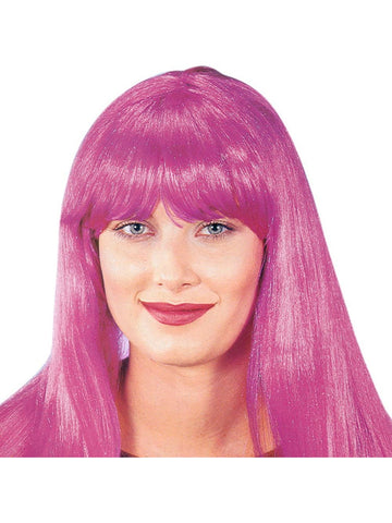 Adult Long Hot Pink Wig