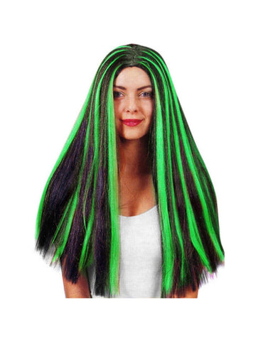 Adult Black & Green Witch Wig-COSTUMEISH
