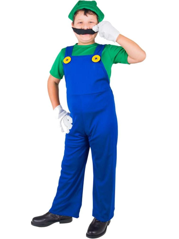 Child Plumber Brothers Green Costume-COSTUMEISH