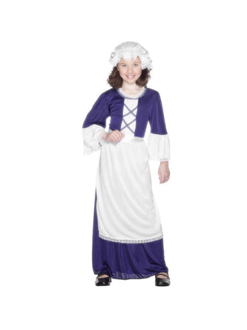 Childs Blue Colonial Girl Costume