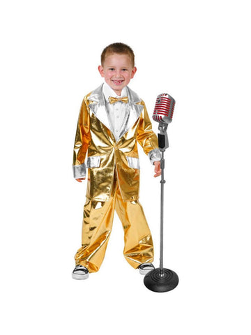 Child Elvis Gold Lame Suit Costume-COSTUMEISH
