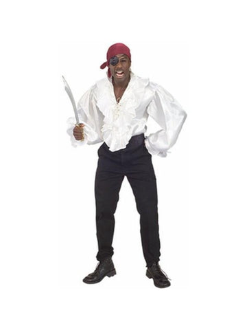 Adult White Satin Pirate Shirt-COSTUMEISH