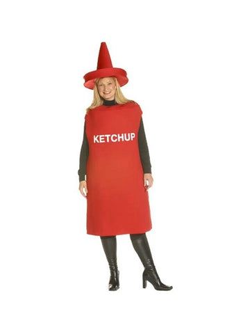 Adult Plus Size Ketchup Bottle Costume-COSTUMEISH