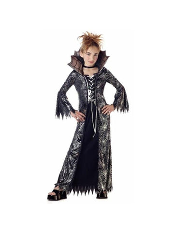 Child's Silver & Black Spider Witch Costume-COSTUMEISH